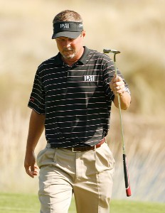 Jim McGovern reacts to making his putt at the 18th green during the first round of the Nationwide Tour Championship at Barona Creek on November 1, 2007, at Barona Creek Golf Club in Lakeside, California. Nationwide Tour - 2007 Nationwide Tour Championship at Barona Creek - First RoundPhoto by Stan Badz/PGA TOUR/WireImage.com