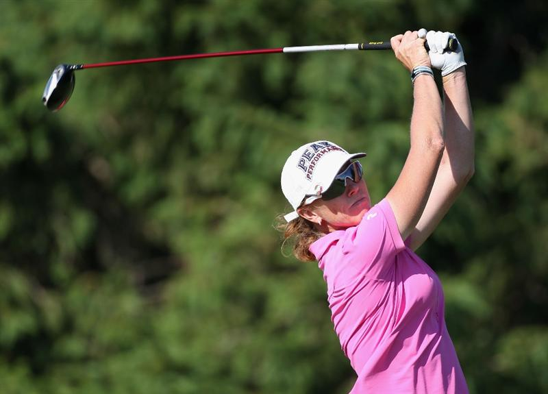 SPRINGFIELD, IL - JUNE 06: Helen Alfredsson of Sweden hits a tee shot on the 16th hole during the third round of the LPGA State Farm Classic golf tournament at Panther Creek Country Club on June 6, 2009 in Springfield, Illinois. (Photo by Christian Petersen/Getty Images)