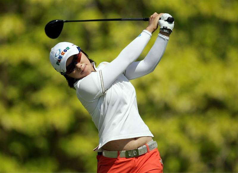 SINGAPORE - FEBRUARY 25:  Eun-Hee Ji of South Korea during the second round of the HSBC Women's Champions at Tanah Merah Country Club  on February 25, 2011 in Singapore, Singapore.  (Photo by Ross Kinnaird/Getty Images)