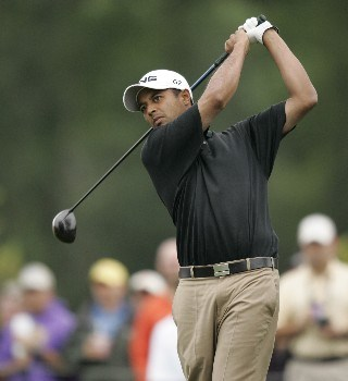 Arjun Atwal on the 4th hole during the third round of the Zurich Classic being played at The TPC of New Orleans in New Orleans, Louisiana on April 30, 2005.Photo by Mike Ehrmann/WireImage.com
