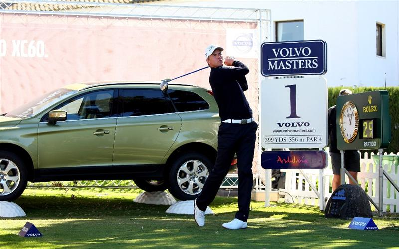 SOTOGRANDE, SPAIN - OCTOBER 30:  Robert Karlsson of Sweden tees off on the first hole during the first round of the Volvo Masters at Valderrama Golf Club on October 30, 2008 in Sotogrande, Spain.  (Photo by Andrew Redington/Getty Images)