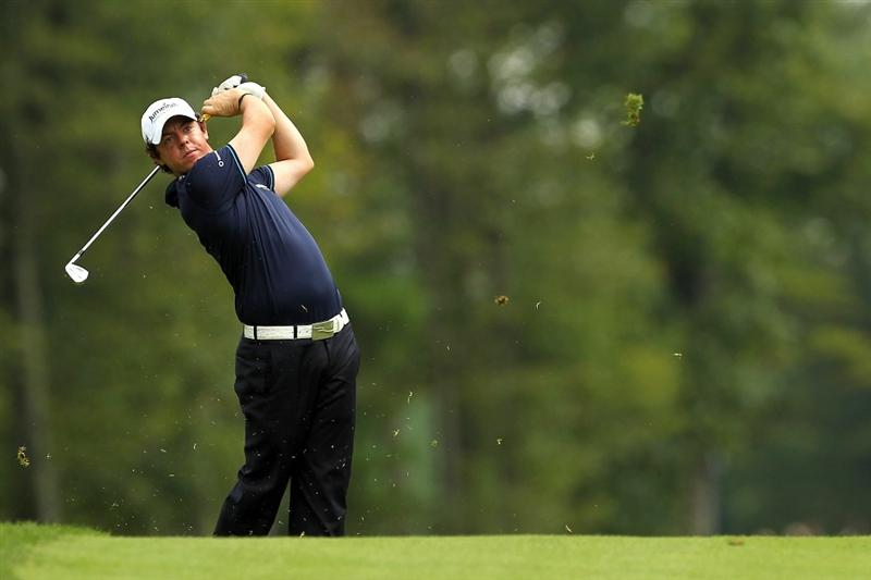 NORTON, MA - SEPTEMBER 03:  Rory McIlroy of Northern Ireland hits a shot during the first round of the Deutsche Bank Championship at TPC Boston on September 3, 2010 in Norton, Massachusetts.  (Photo by Mike Ehrmann/Getty Images)