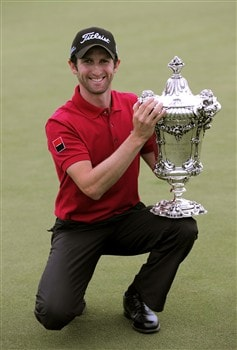 CASCAIS, PORTUGAL - APRIL 06:  Gregory Bourdy of France with the winners trophy after the final round of The Estoril Open de Portugal The Oitavos Dunes Golf Course on April 6, 2008 in Cascais, Portugal.  (Photo by Stuart Franklin/Getty Images)
