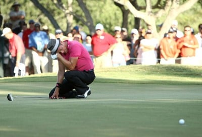 Jesper Parnevik of Sweden reacts to missing a birdie putt on the 16th hole, the third playoff hole, during the final round of the Valero Texas Open at LaCantera Golf Club October 7, 2007 in San Antonio, Texas. PGA TOUR - 2007 Valero Texas Open - Final RoundPhoto by Jonathan Ferrey/WireImage.com
