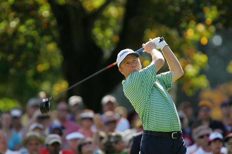 TIMONIUM, MD - OCTOBER 12:  Jeff Sluman hits his drive on the first tee during the final round of the Constellation Energy Senior Players Championship at Baltimore Country Club East Course held on October 12, 2008 in Timonium, Maryland  (Photo by Michael Cohen/Getty Images)