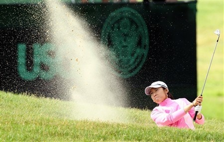 EDINA, MN - JUNE 28:  Candie Kung of Chinese Taipei plays her third shot at the 18th hole during the third round of the 2008 U.S. Women's Open Championship U.S. Women's Open 28, 2008 in Edina, Minnesota.  (Photo by David Cannon/Getty Images)