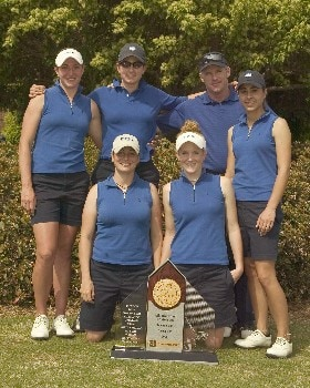 The Duke women's golf team pose with their ACC Championship trophy after winning the tournament by a record 47 strokes over second place Wake Forest, April 17, 2005.  The members are (front row, L-R)) Elizabeth Janangelo and Anna Grzebien (back row, L-R) Brittany Lang, Jennifer Pandolfi, head coach Dan Brooks and Niloufar Aazam-Zanganeh.Photo by Brian A.  Westerholt/WireImage.com