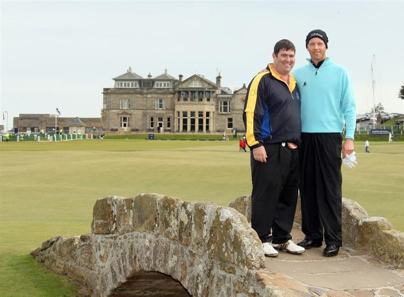 ST ANDREWS, SCOTLAND - OCTOBER 05:  Soren Hansen of Denmark with his playing partner Kieran McManus on the Swilken Bridge on the 18th hole during the final round of The Alfred Dunhill Links Championship at The Old Course on October 5, 2009 in St.Andrews, Scotland. (Photo by Warren Little/Getty Images)