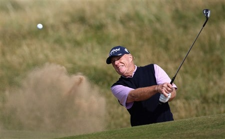 TROON, UNITED KINGDOM - JULY 25:  Nick Job of England plays his second shot on the par three 5th hole during the second round of the Senior Open Championships at Royal Troon on July 25,2008 in Troon,Scotland.  (Photo by Ross Kinnaird/Getty Images)