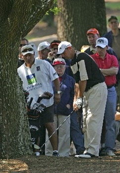 Patrick Sheehan hits from under a tree on the 10th hole during the second round of the Wachovia Championship, Friday May 6, 2005Photo by Chris Condon/PGA TOUR/WireImage.com