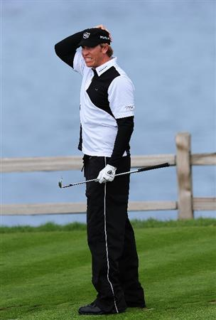 PEBBLE BEACH, CA - FEBRUARY 12:  Ricky Barnes plays his tee shot on the seventh hole during round two of the AT&T Pebble Beach National Pro-Am at Pebble Beach Golf Links on February 12, 2010 in Pebble Beach, California.  (Photo by Stuart Franklin/Getty Images)