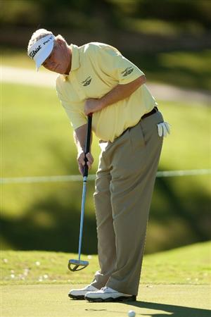 SAN ANTONIO, TX - OCTOBER 29: Mark Wiebe putts during the first round of the AT&T Championship at Oak Hills Country Club on October 29, 2010 in San Antonio, Texas. (Photo by Darren Carroll/Getty Images)