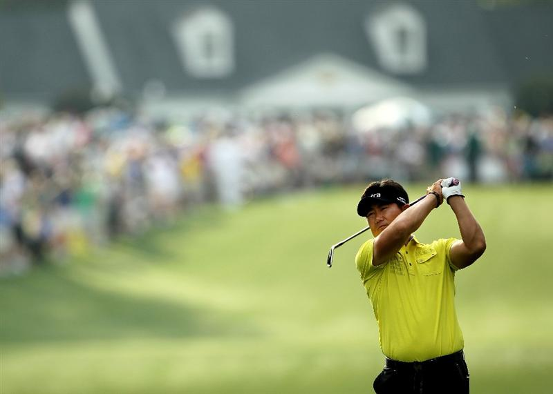 AUGUSTA, GA - APRIL 08:  Y.E. Yang of South Korea hits his approach shot on the first hole during the second round of the 2011 Masters Tournament at Augusta National Golf Club on April 8, 2011 in Augusta, Georgia.  (Photo by Jamie Squire/Getty Images)