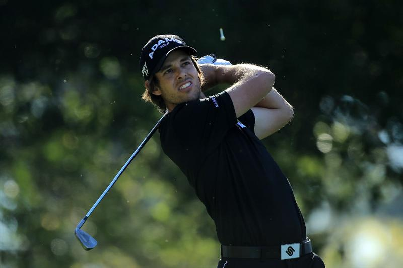AUGUSTA, GA - APRIL 07:  Aaron Baddeley of Australia hits his tee shot on the fourth hole during the first round of the 2011 Masters Tournament at Augusta National Golf Club on April 7, 2011 in Augusta, Georgia.  (Photo by David Cannon/Getty Images)