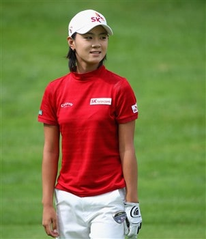 EVIAN, FRANCE - JULY 27:  Na Yeon Choi of South Korea smiles on the 16th hole during the final round of the Evian Masters at the Evian Masters Golf Club on July 27, 2008 in Evian, France.  (Photo by Andrew Redington/Getty Images)