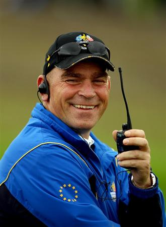 NEWPORT, WALES - OCTOBER 03:  Europe Vice Captain Thomas Bjorn talks on a radio during the  Fourball & Foursome Matches during the 2010 Ryder Cup at the Celtic Manor Resort on October 3, 2010 in Newport, Wales.  (Photo by Richard Heathcote/Getty Images)