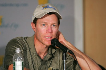 Nick O'Hern of the International team speaks at a press conference at The Presidents Cup at Robert Trent Jones Golf Club in Prince William County, Virginia on September 20, 2005.Photo by Chris Condon/PGA TOUR/WireImage.com