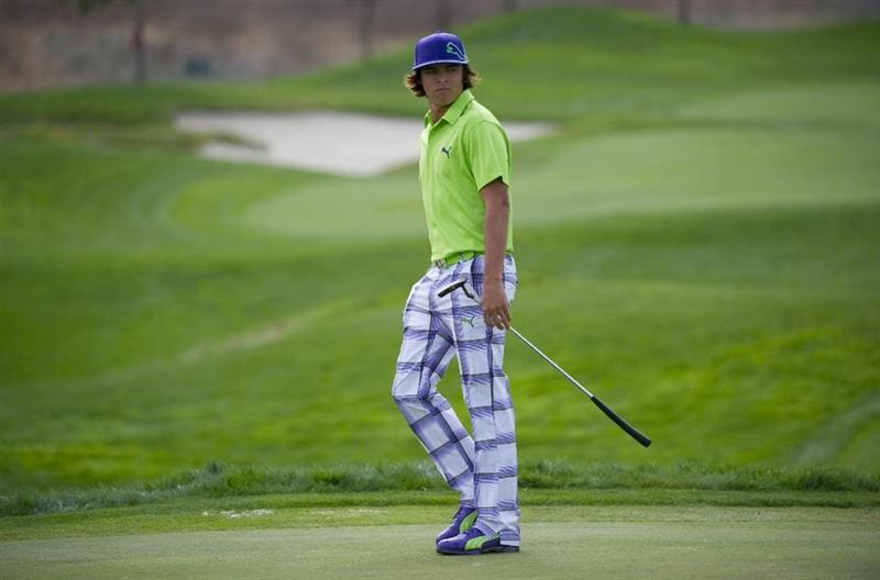 SAN MARTIN, CA - OCTOBER 16:  Rickie Fowler aims for a putt on the fifth hole during the third round of the Frys.com Open at the CordeValle Golf Club on October 16, 2010 in San Martin, California.  (Photo by Robert Laberge/Getty Images)