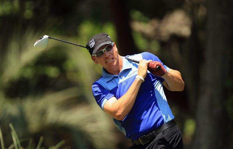 HILTON HEAD ISLAND, SC - APRIL 24:  Ricky Barnes reacts to a shot on the 2nd hole during the final round of The Heritage at Harbour Town Golf Links on April 24, 2011 in Hilton Head Island, South Carolina.  (Photo by Streeter Lecka/Getty Images)