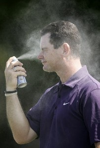 Rory Sabbatini applies sunscreen prior to the second round of the WGC-CA Championship held on the Blue Course at Doral Golf Resort and Spa in Doral, Florida, on March 23, 2007. PGA TOUR - WGC - 2007 CA Championship - Second RoundPhoto by Sam Greenwood/WireImage.com