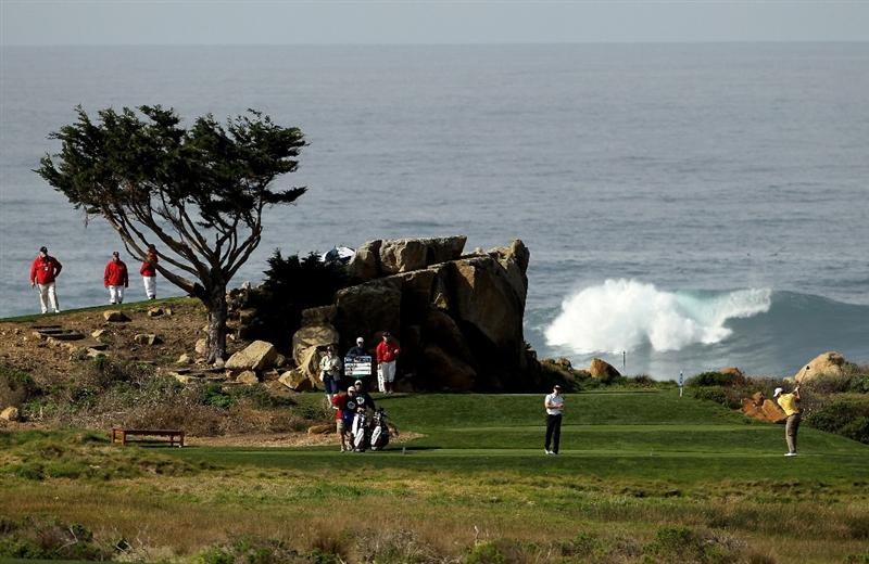 PEBBLE BEACH, CA - FEBRUARY 12:  Kyle Stanley tees off on the 16th hole during round two of the AT&T Pebble Beach National Pro-Am at Monterey Peninsula Country Club Shore Course on February 12, 2010 in Pebble Beach, California.  (Photo by Ezra Shaw/Getty Images)