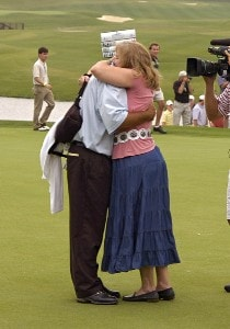 Brad Bryant hugs his wife, Sue after winning the final round of the Regions Charity Classic held at Robert Trent Jones Golf Trail at Ross Bridge in Birmingham, Alabama, on May 7, 2006.Photo by Al Messerschmidt/WireImage.com