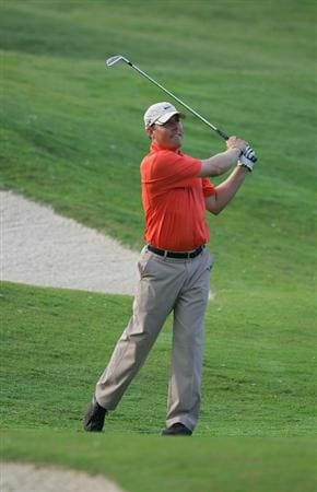 MEMPHIS, TN - JUNE 13: Defending champion Justin Leonard of the United States hits a shot during the continuation of the  second round of the St. Jude Classic at TPC Southwind held on June 13, 2009 in Memphis, Tennessee. The second round was suspended on June 12, 2009 due to severe weather.  (Photo by Michael Cohen/Getty Images)