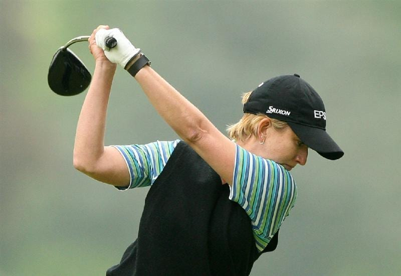 CLIFTON, NJ - MAY 16 : Karrie Webb of Australia hits her tee shot on the 7th hole during the third round of the Sybase Classic presented by ShopRite at Upper Montclair Country Club on May 16, 2009 in Clifton, New Jersey. (Photo by Hunter Martin/Getty Images)