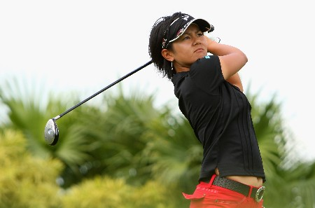 SINGAPORE - FEBRUARY 27:  Ai Miyazato of Japan tees off on the 11th hole during the Pro-Am prior to the start of the HSBC Women's Champions at Tanah Merah Country Club on February 27, 2008 in Singapore.  (Photo by Andrew Redington/Getty Images)
