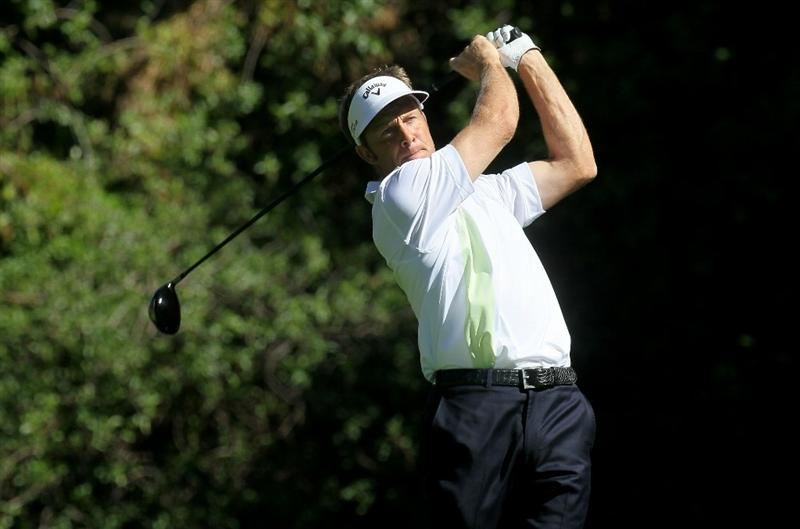 PACIFIC PALISADES, CA - FEBRUARY 17:  Stuart Appleby of Australia hits his tee shot on the 12th hole during round one of the Northern Trust Open at Riviera Counrty Club on February 17, 2011 in Pacific Palisades, California.  (Photo by Stephen Dunn/Getty Images)