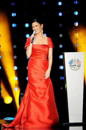 CARDIFF, WALES - SEPTEMBER 29:  Actress Catherine Zeta-Jones speaks onstage during Welcome To Wales at Millennium Stadium on September 29, 2010 in Cardiff, Wales.  (Photo by Eamonn McCormack/Getty Images)
