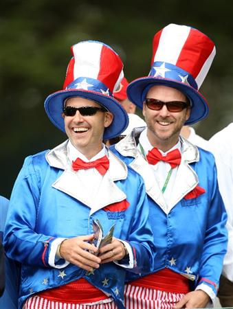 SAN FRANCISCO - OCTOBER 08: USA spectators at the 8th hole during the Day One Foursome Matches in The Presidents Cup at Harding Park Golf Course on October 8, 2009 in San Francisco, California  (Photo by David Cannon/Getty Images)