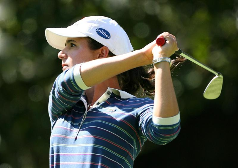 GUADALAJARA, MX - NOVEMBER 15: Lorena Ochoa hits her second shot on the 14th hole during the third round of the Lorena Ochoa Invitational at Guadalajara Country Club on November 15, 2008 in Guadalajara, Mexico. (Photo by Hunter Martin/Getty Images)