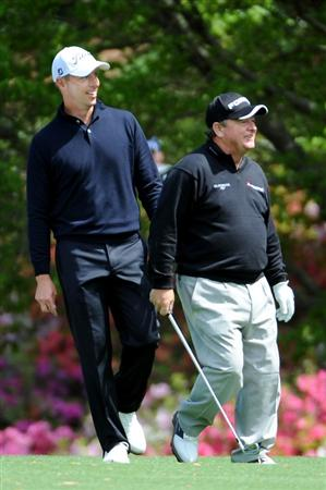 AUGUSTA, GA - APRIL 06:  Ian Woosnam of Wales and Soren Hansen of Denmark walk off a tee during a practice round prior to the 2009 Masters Tournament at Augusta National Golf Club on April 6, 2009 in Augusta, Georgia.  (Photo by Harry How/Getty Images)