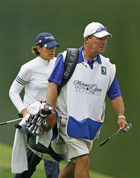 WILLIAMSBURG, VA - MAY 10: Caddie Worth Blackwelder (R) walks up the 18th fairway with Juli Inkster during the third round of the Michelob Ultra Open at Kingsmill Resort & Spa on May 10, 2008 in Williamsburg, Virginia. (Photo by Hunter Martin/Getty Images)