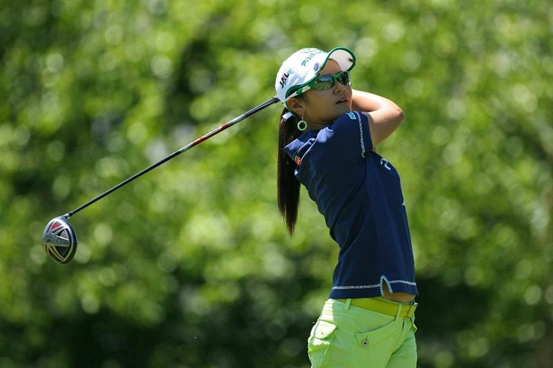 GLADSTONE, NJ - MAY 20 : Ai Miyazato of Japan watches her tee shot on the 10th hole during the first round of the Sybase Match Play Championship at Hamilton Farm Golf Club on May 20, 2010 in Gladstone, New Jersey. (Photo by Hunter Martin/Getty Images)