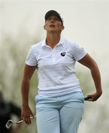 PHOENIX, AZ - MARCH 20:  Angela Stanford reacts after missing a putt on the 18th hole during the final round of the RR Donnelley LPGA Founders Cup at Wildfire Golf Club on March 20, 2011 in Phoenix, Arizona. (Photo by Stephen Dunn/Getty Images)