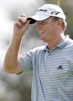 Lonnie Nielsen tips his hat on the 10th hole during the final round of the 2005 SAS Championship Sunday, Oct. 2, 2005, at Prestonwood Country Club in Cary, N.C.Photo by Grant Halverson/WireImage.com