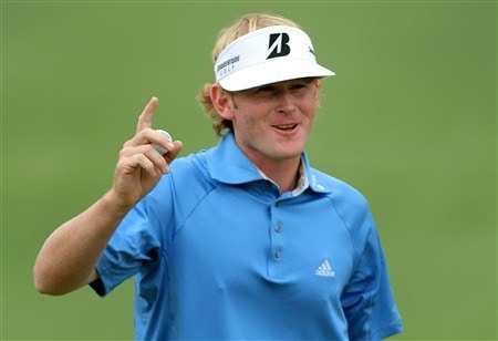 AUGUSTA, GA - APRIL 12:  Brandt Snedeker waves to the gallery after a birdie putt on the second green during the third round of the 2008 Masters Tournament at Augusta National Golf Club on April 12, 2008 in Augusta, Georgia.  (Photo by Harry How/Getty Images)