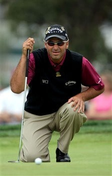 SAN DIEGO - JUNE 13:  Rocco Mediate lines up a putt during the second round of the 108th U.S. Open at the Torrey Pines Golf Course (South Course) on June 13, 2008 in San Diego, California.  (Photo by Doug Pensinger/Getty Images)
