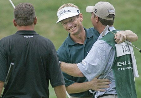 Brad Faxon of Barrington, Rhode Island, after winning the Buick Championship tournament at TPC at River Highlands, in Cromwell, Connecticut, Sunday, August 28, 2005.  He finished with a score of a 14-under-par 266. But he won the tournament after defeating Tjaart van der Walt, seen left,  on a play-off hole on 18.Photo by Jim Rogash/WireImage.com