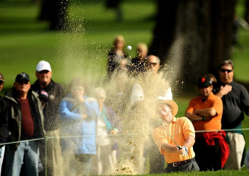 SAN FRANCISCO - NOVEMBER 05:  Tom Kite hits out of the sand trap on the 8th hole during round 2 of the Charles Schwab Cup Championship at Harding Park Golf Course on November 5, 2010 in San Francisco, California.  (Photo by Ezra Shaw/Getty Images)