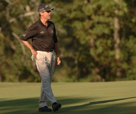 Mark McNulty lines up his putt on the 17th green during the final round of the Champion's TOUR Administaff Small Business Classic at Augusta Pines Country Club in Spring, Texas October 16, 2005Photo by Steve Grayson/WireImage.com