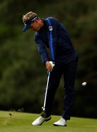 VIRGINIA WATER, ENGLAND - MAY 27:  Luke Donald of England hits his 2nd shot on the 13th hole during the second round of the BMW PGA Championship at the Wentworth Club on May 27, 2011 in Virginia Water, England.  (Photo by Richard Heathcote/Getty Images)