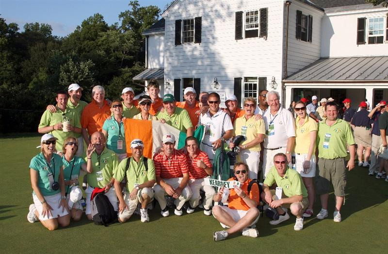 ARDMORE, PA - SEPTEMBER 13: Niall Kearney of Ireland and Stiggy Hodgson of England members of teh Great Britain and Ireland Team pose with 'Kearney's Barmy army' the final afternoon singles matches on the East Course at Merion Golf Club on September 13, 2009 in Ardmore, Pennsylvania  (Photo by David Cannon/Getty Images)