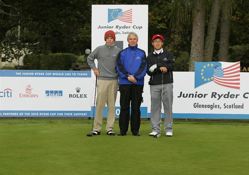 GLENEAGLES, SCOTLAND - SEPTEMBER 28:  (L-R) Kristoffer Ventura, referee Ian Wrigley and Jim Liu pose for a photograph at the start of the second day of play at the Junior Ryder Cup at Gleneagles on September 28 2010 near Muirton, Scotland. (Photo by Ian MacNicol/Getty Images)
