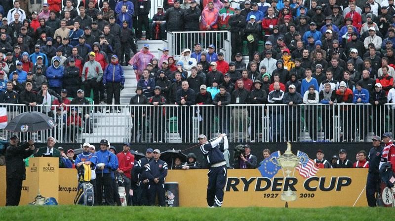 NEWPORT, WALES - OCTOBER 01:  Dustin Johnson of the USA hits the opening shot on the 1st hole during the Morning Fourball Matches during the 2010 Ryder Cup at the Celtic Manor Resort on October 1, 2010 in Newport, Wales.  (Photo by Ross Kinnaird/Getty Images)