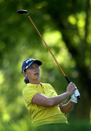 GUADALAJARA, MX - NOVEMBER 13: Angela Stanford of the United States hits her tee shot on the 17th hole during the first round of the Lorena Ochoa Invitational at Guadalajara Country Club on November 13, 2008 in Guadalajara, Mexico. (Photo by Hunter Martin/Getty Images)
