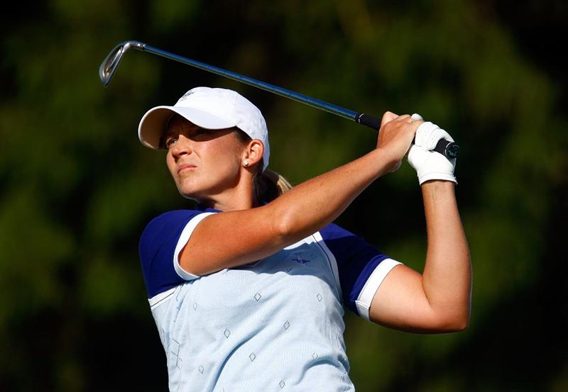 SUGAR GROVE, IL - AUGUST 22:  Angela Stanford of the U.S. Team hits her tee shot on the third hole during the saturday morning fourball matches at the 2009 Solheim Cup at Rich Harvest Farms on August 22, 2009 in Sugar Grove, Illinois.  (Photo by Scott Halleran/Getty Images)
