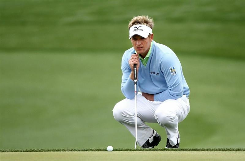 MARANA, AZ - FEBRUARY 26:  Luke Donald of England lines up a putt for birdie on the 13th hole during the quarterfinal round of the Accenture Match Play Championship at the Ritz-Carlton Golf Club on February 26, 2011 in Marana, Arizona.  (Photo by Andy Lyons/Getty Images)